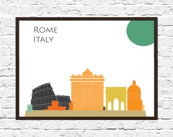 Rome Cityscape, Rome Art, Skyline, Cityscape, Rome Print, City Print, City Poster, Wall Art, Rome Skyline, Abstract