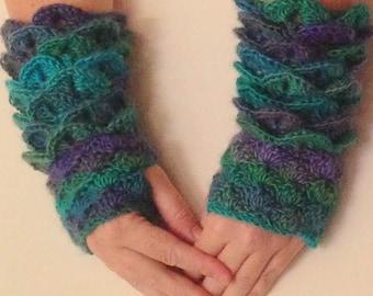 Dragon Skin Gloves, Long Rainbow Dragon Mittens, Soft Crochet Gloves, Crochet Fingerless Gloves, Fall Gloves, Gifts for Her, Geeky Gloves