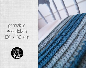 Crochet cradle blanket stripes petrol grey green