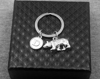 Polar Bear Key chain -White Bear Keychain -Initial Keychain -Your Choice of A to Z