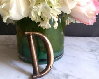 Vintage Brass Letter/ Letter D/ D Monogram/ Brass Letters/ Rustic Letter D/ Brass Decoration/ Rustic Brass Letter D