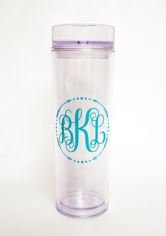 Monogram tumbler, Arrow double-wall acrylic tumbler,tall skinny cup,travel mug,personalized gift,lake cup, beach tumbler, vine monogram