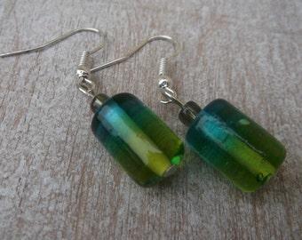 Blue and green rainbow - glass earrings