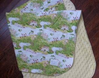 Mini Quilt | Baby Blanket | Minky | Baby Girl | Baby Boy | Gender Neutral | Heather Ross | Briar Rose | Green - Yellow - Frogs - Pond