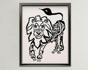 Lion Arabic Art Calligraphy Original Drawing