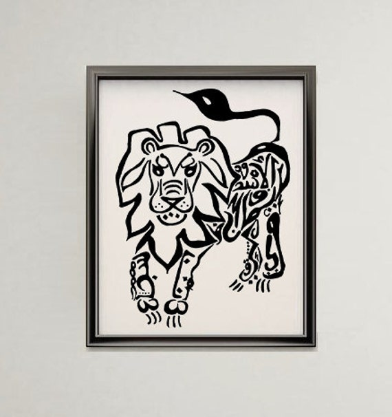 Lion Arabic Art Calligraphy Original Drawing