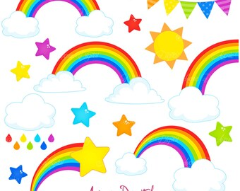 Rainbows Clipart Scrapbook printables, Vector Rainbow and cloud clip art set .eps. Cute rainbow party clouds graphics