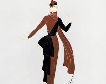 ERTE Authentic Limited Edition Vintage Art Deco / Nouveau Print 1972 AFTERNOON DRESS