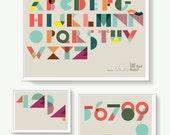 Set of 3 illustrations. Prints Geometric 'ABC & Numbers'. Alphabet print. Kids room decoration. ABC wall art.