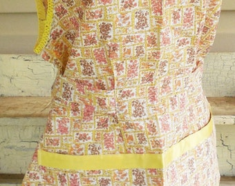 Cotton Floral Top Apron, Brown Orange and Yellow Floral Themed Top Half Kitchen Apron with Tie in Back