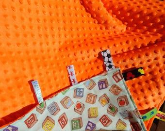 """Wooden Toy Block Sensory Baby Blanket, I Spy Blanket, Sensory Blanket, 29"""" x 29"""", Baby Shower Gift, Flannel Baby Blanket, Minky Sensory Baby"""