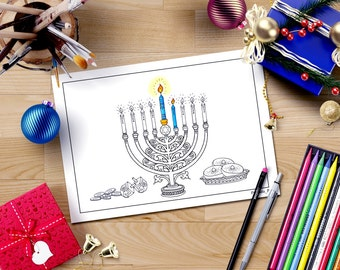 Hanukkah coloring page, jewish star menorah, hanukkah blessings, hanukkah candles coloring, jewish printable, hanukkah kids crafts, menorah