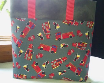 Childrens Firetruck Tote Bag Library Bag Travel Bag Fire Trucks