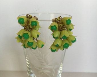 Fun and Flirty Green and Yellow Cascading Flower Clip-on Earrings Marked HONG KONG
