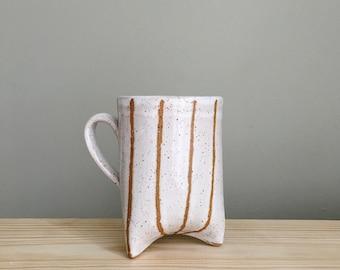 Striped white mug, handmade mug with three feet by Mud to Life