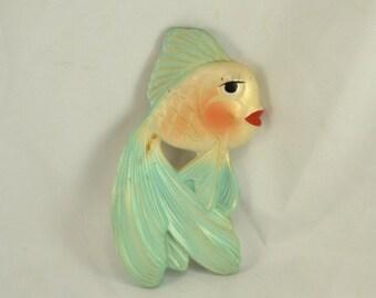 Kitsch Chalkware Fish - 1964 Miller Studios Large Gold Fish Aqua Teal  - Mid Century s Retro Mod Bathroom Wall Decor