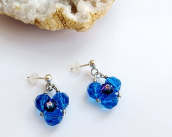 Crystal stud earrings // Summer spring earrings // Cobalt blue earrings // Birthday gift