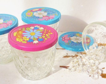 Vintage Quilted Ball Canning Jar, Pink (1) and Blue (3) Mod Flower Metal Lid, Set of Four Jelly Jars , 1970s