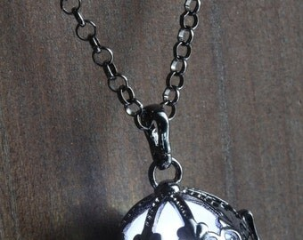 ON SALE TODAY - White Ornate Glowing Orb Pendant Necklace Locket Gun Metal Black, Romantic Gift for Her