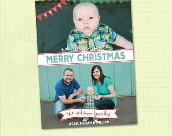 Photo Christmas Card / Printable Christmas Card / Digital Christmas Card / Merry Christmas Card / We Wish you a Merry Christmas