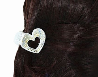 New White  Heart With Crystal Rhinestones 1  1/4 '' Superior Quality Hair Claw Clip