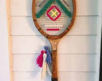 Neon Vintage Tennis Racket Woven Wall Hanging
