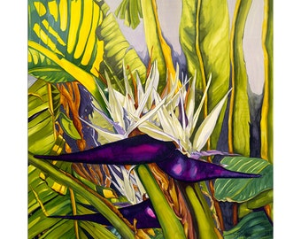 Purple Paradise Giclee Art Print of original Silk Painting by Artimis 17x17 inches