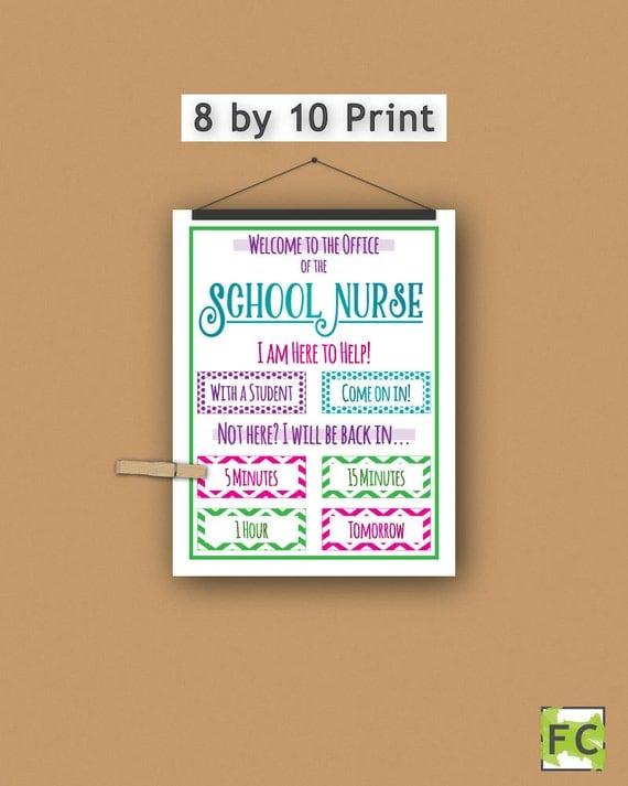 School Nurse Print Personalized Gift Door