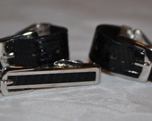 Swank Wrist Watch Band Strap Cufflinks & Tie Bar Set - Free Shipping