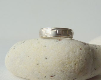 Vintage Band Ring Sterling Silver Diamond Mint Band  Silver Ring, Size 7 Ring, Silver Unisex Ring, 925 Jewelry, Simple Retro Band Ring