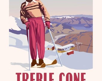 Treble Cone Vintage Style Travel Poster