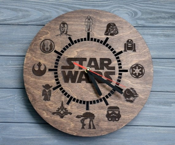 Star Wars Wall Clock Wood Darth Vader Custom By Enjoythewood