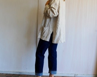 Over Sized Linen Button Up