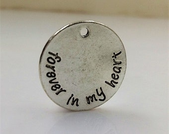 10pcs 25mm Antique Silver Letters Charm Pendants forever in my heart Charm Pendants MF1505