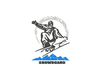 Embroidery of a snowboarder for machine embroidery 4 x 4 format