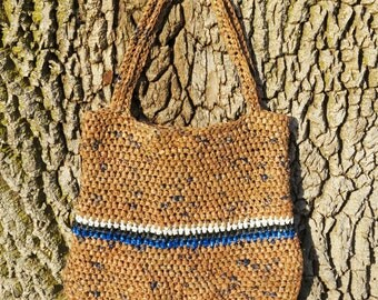 Plarn Bag/Tote Recycled-Tan Blue Black White, upcycled crocheted plarn bag/plarn tote made from plastic shopping bags
