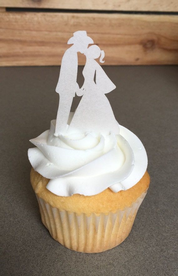 Wedding Toppers Country Western Anniversary Engagement Edible Paper Cupcake Cake Toppers