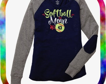 Softball Mom GLITTER VINYL Tee with or without Custom Number/Softball Mom Bling Long Sleeve Tee with Elbow Patch