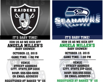 Printable Baby Shower Football Ticket Invitations Invitations with diaper raffle stub Choose your team