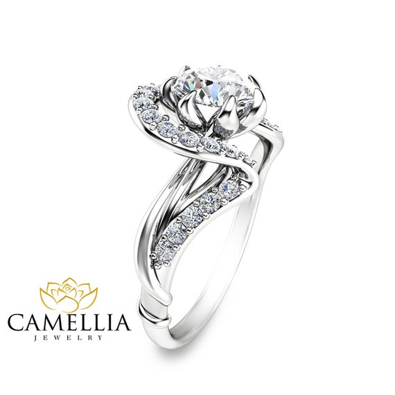 moissanite unique engagement ring unique 14k white gold twist