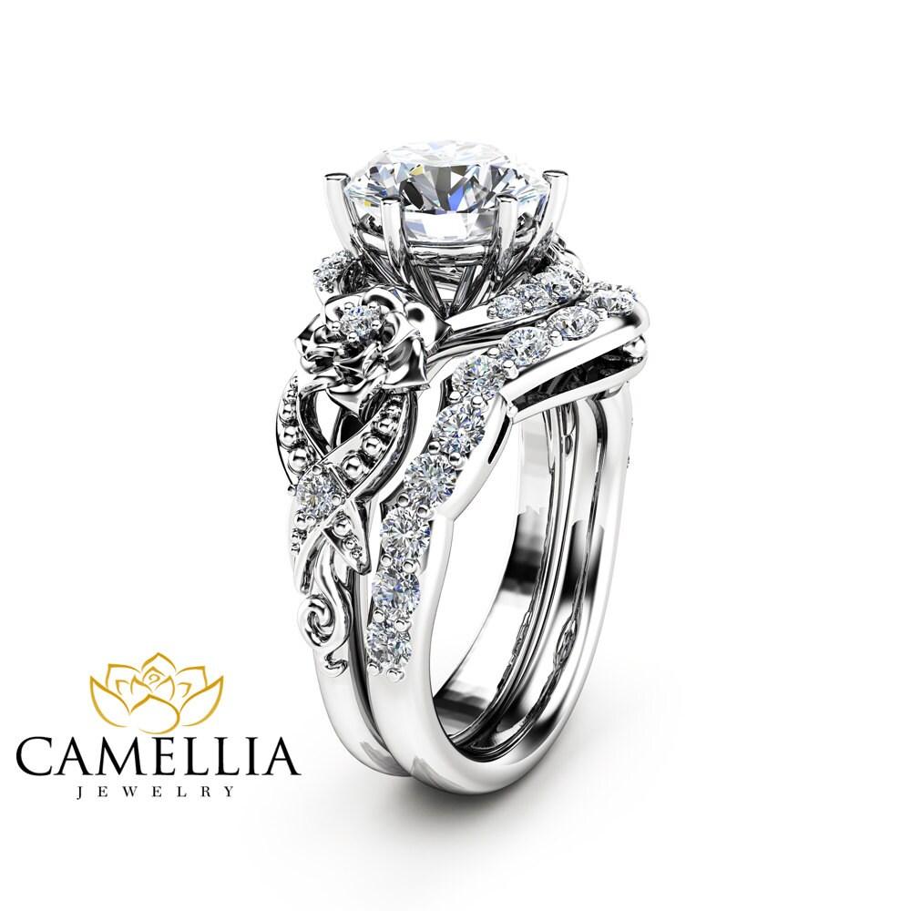 Moissanite Engagement Ring Set 14K White Gold Moissanite Ring