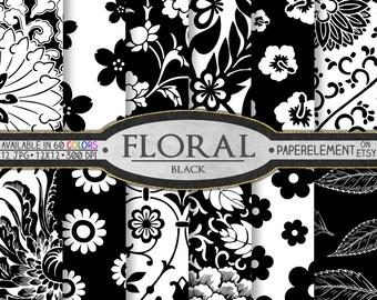 Black Floral Digital Paper: Black and White Digital Paper, Floral Digital Paper, Black Scrapbook Paper, Black Floral Paper Instant Download