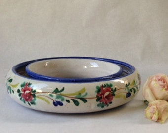 Italian pottery flower ring centerpiece with painted decoration, pansy ring