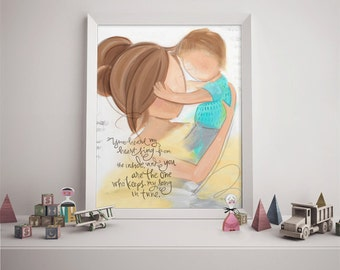Art for Boys Room, Mother and Son Child's Room Wall Art, Brunette Mom and Child Picture
