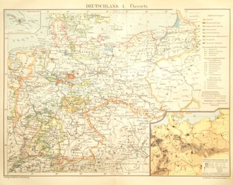 Vintage Germany Map Etsy - Germany map by year