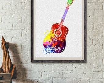 Acoustic Guitar Print5, Guitar Watercolor Print, Music Poster, Music, Abstract Music Instrument Poster, Guitar Decor, Guitar Art (A0367)