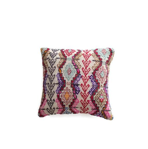 kilim pillow cover tribal throw pillow boho pillow turkish