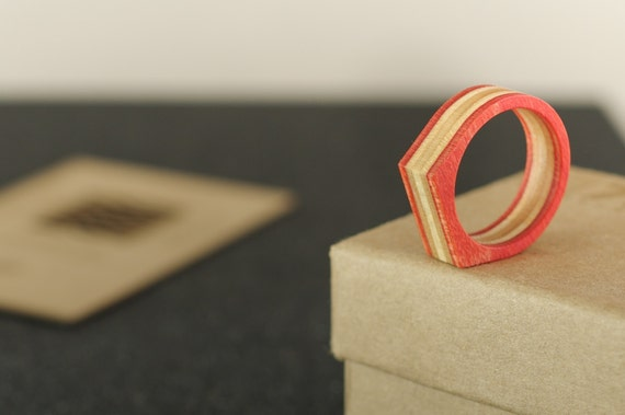 SKATEBOARD recycled ring orange (wood)