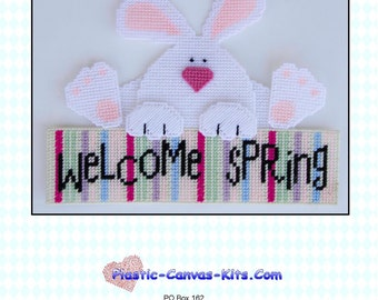 Welcome Spring Bunny-Plastic Canvas Pattern-PDF Download