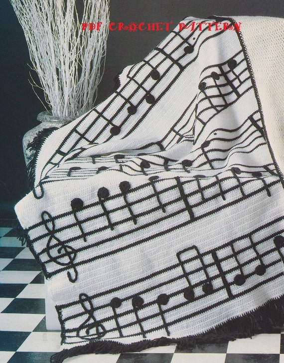 Free Crochet Patterns For Music Notes : Crochet Musical Notes Afghan Pattern KC0447 Intermediate